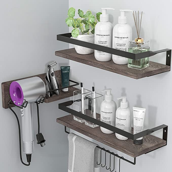 LYNNC 3 in 1 Rustic Floating Shelves, Decorative Storage Shelves with Towel Bar, Wall Mounted Shelves Holder for Bathroom, Kitchen & Bedroom - Set of 3 Shelves (Brown)