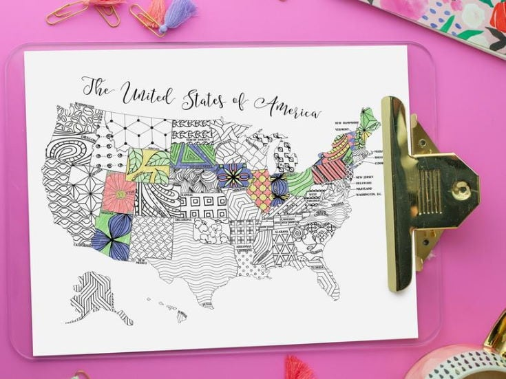 United States Map Coloring Page Instant Download