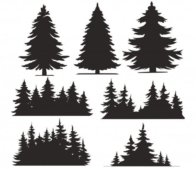 Vintage trees and forest silhouettes set Free Vector