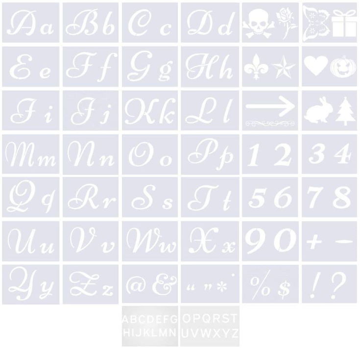 Letter Stencils for Painting on Wood - 40 Pcs with Adhesive - Alphabet with Calligraphy Font Upper and Lowercase Letters
