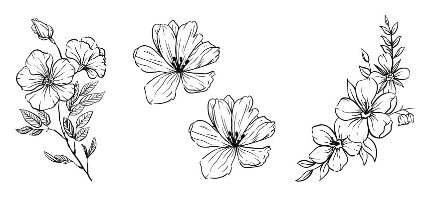 Three flower pattern on white background.