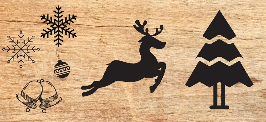 Christmas woodburning Patterns in wooden background