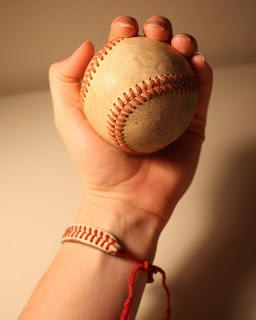 woman's hand wearing Baseball String Bracelets