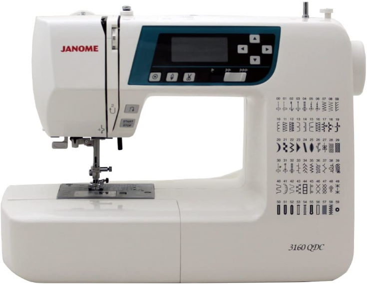 Janome 3160QDC Computerized Sewing Machine (New 2020 Tan Color) w/Hard Cover + Extension Table + Quilt Kit + 1/4 Seam Foot w/Guide + Overedge Foot + Zig Zag Foot + Buttonhole Foot + More!