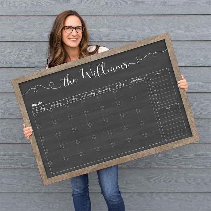 Personalized Dry Erase Chalkboard Calendar | Small OR Large Size | Framed Family Command Center Organizer| Horizontal