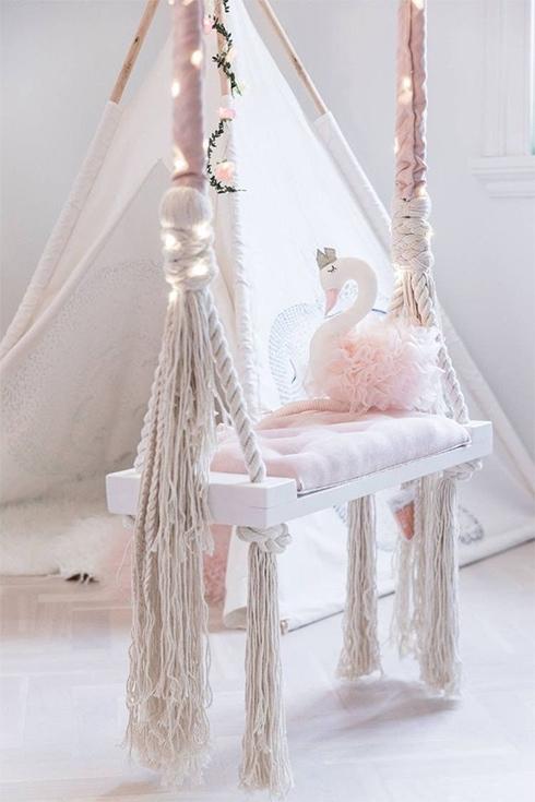 Wooden Indoor Outdoor Kids and Adults Vintage Swing - Classic Scandinavian Design Tree Swing - Great Gift!