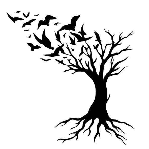 tree with birds vector