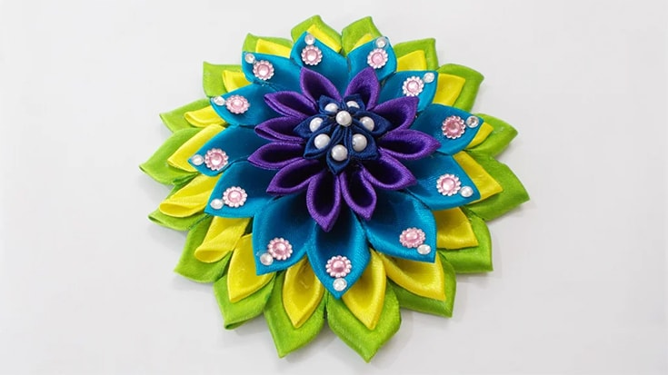Kanzashi Satin Ribbon Flower Hair Accessory