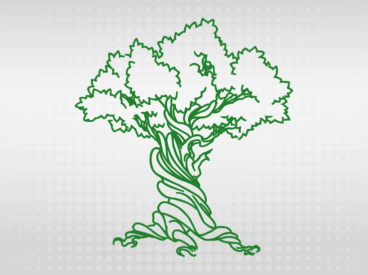 Nature vector footage of a basic tree. Big old tree with crooked branches and many curves and waving parts on the trunk. Outline image of the big tree to create company logos, application icons, stickers, tattoos and clothing prints. Free vector graphics for nature and plants designs. Tree Design by BenBlogged.com