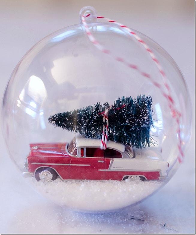 Vintage Car Snow Globe Ornament