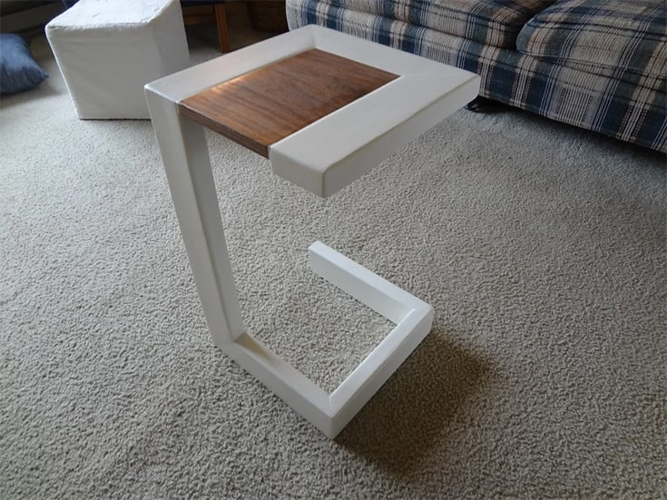 modern end table with a leftover 2x4 and some scrap wood