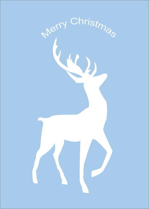 Meery Christmas deer pattern in blue background