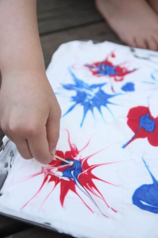 Child's hand painting using shave cream