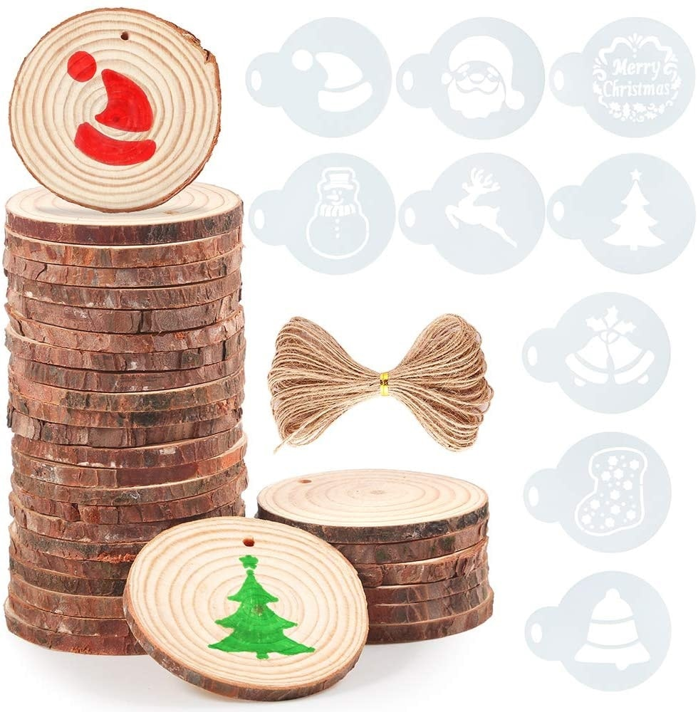 Caydo 30 Pieces 2.4-2.8 Inch Unfinished Round Wood Slices with Holes, 10 Piece Christmas Pattern Stencils and 33 Feet Natural Jute Twine for Home Hanging Decorations