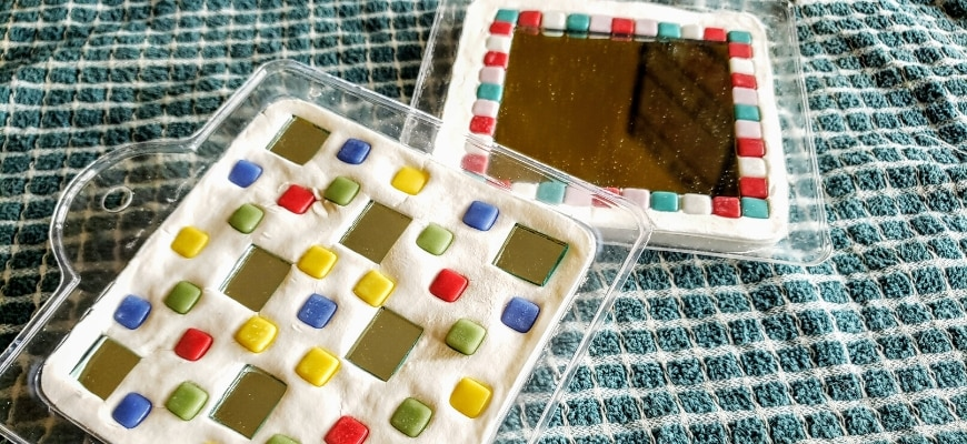DIY Mirror Glass Craft on the table cloth