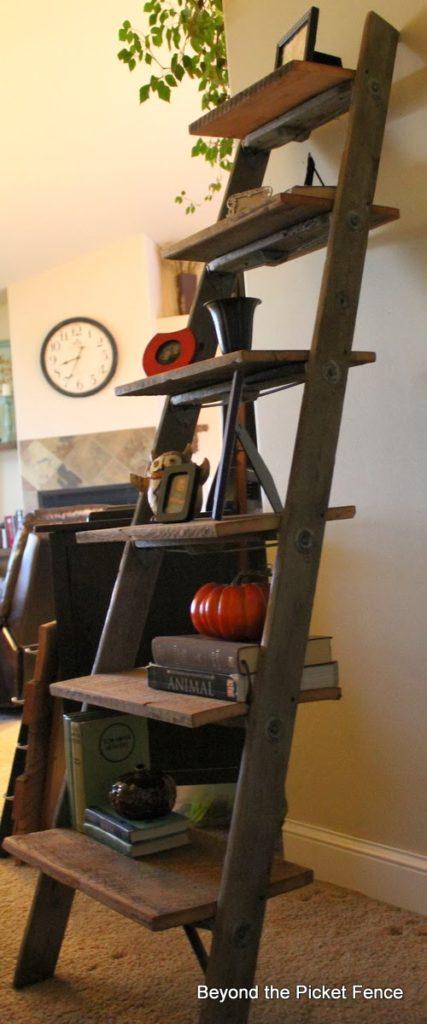 Beyond the Picket Fence Natural wood ladder shelf