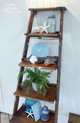 DIY ladder bookshelves