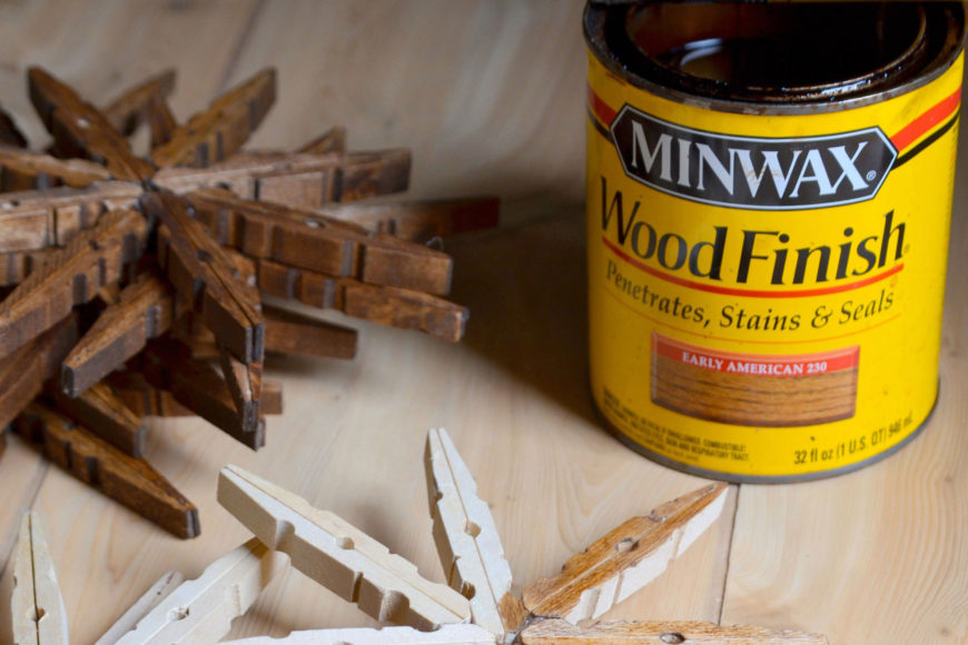 Wood finish seals in can and wooden Christmas ornaments