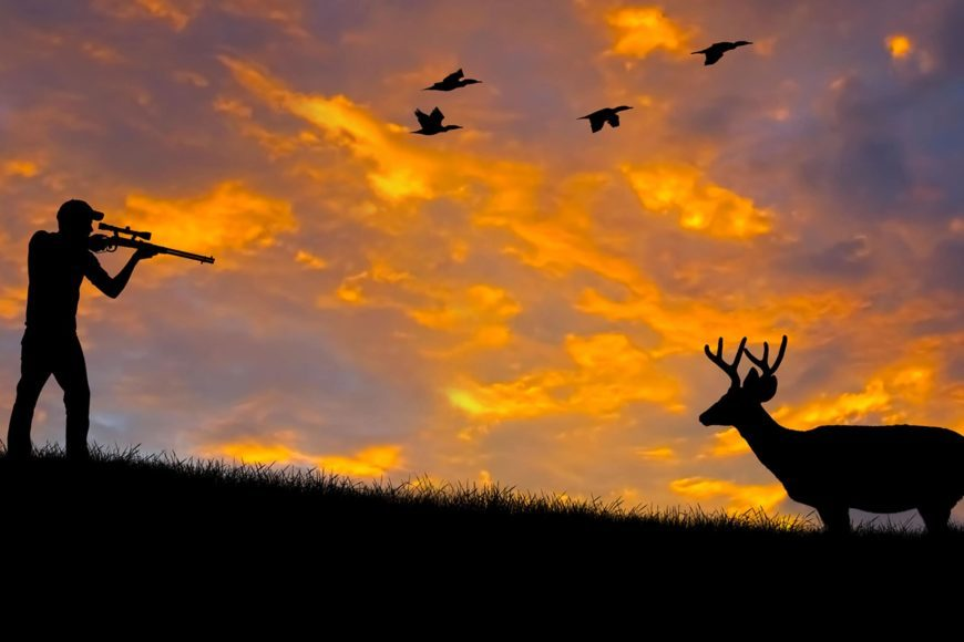 Man trying shooting a deer in sunset background