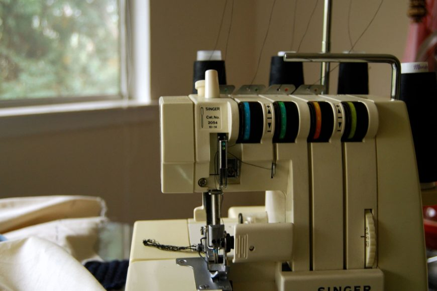 Close up shot of Sergers sewing machine