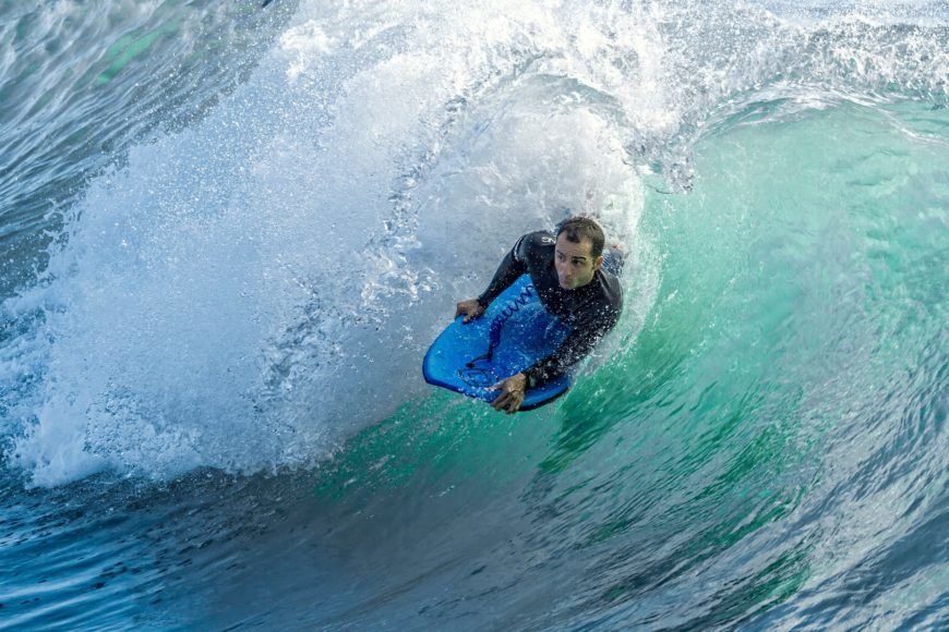 Close up image of man surfing