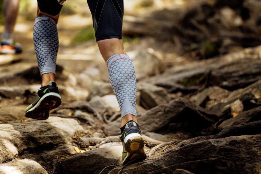 Close shot of woman's feet hiking