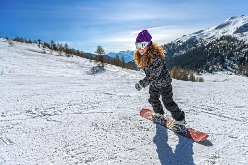 Girl doing snow skating