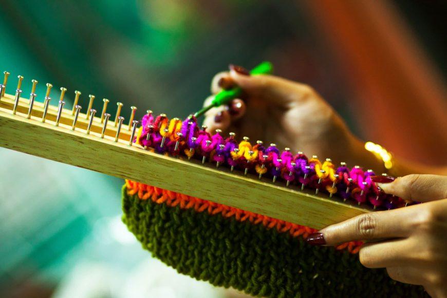 Woman Using Crochet Hooks