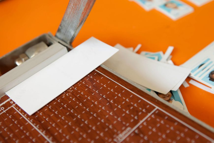Cutter paper and picture in orange background