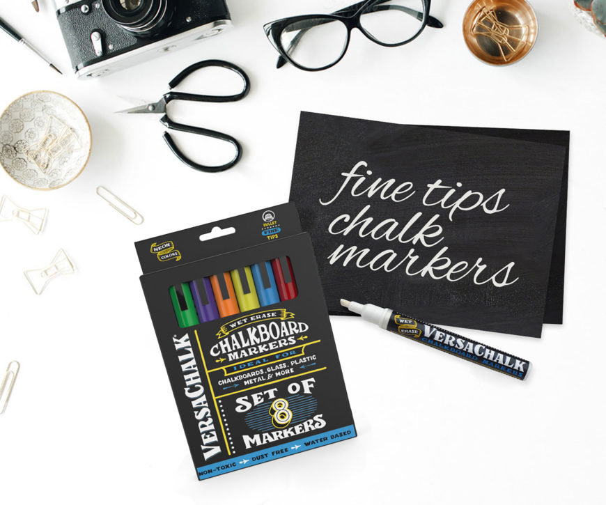 Chalk markers with paper cutter and eye glass