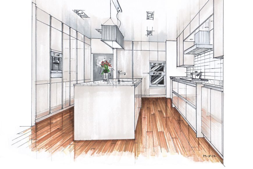 A layout of kitchen