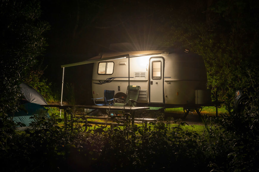 Camping site with quiet generator