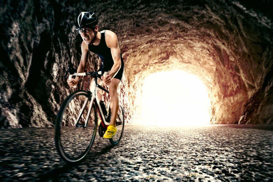 Athlete man biking