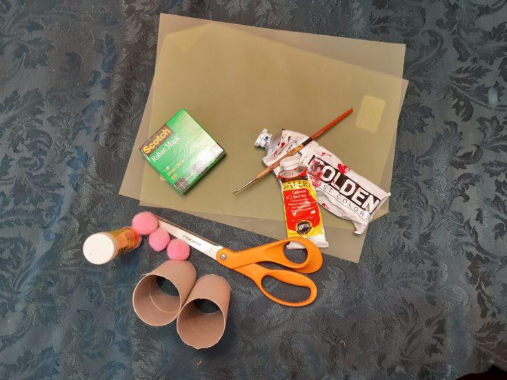 Cardboard Tubes + Acrylic Paint + Construction paper + Glue + Tape + Scissor + Pom Poms