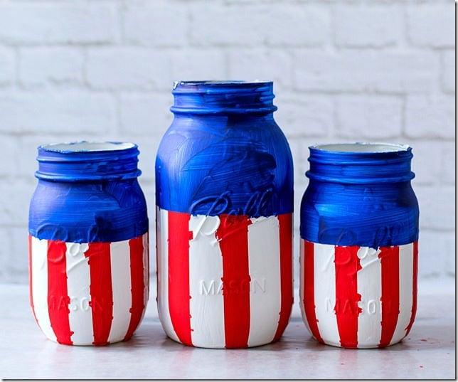 Patriotic Red White Blue Mason Jars.