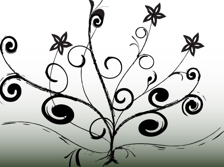Black and white gradient vector background with abstract and decorative tree design. Tree graphics have swirling branches and flower blossoms and are done with an Illustrator ink brush. Download this free and creative nature themed vector design for your greeting card and postcard projects. Tree graphic vector artwork by Free-Vectors.com