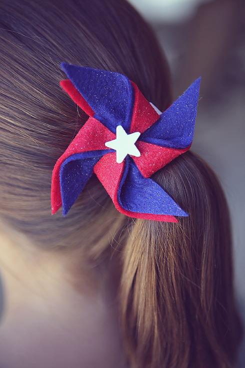 woman's hair wearing red, white and blue Pinwheel Hairclips