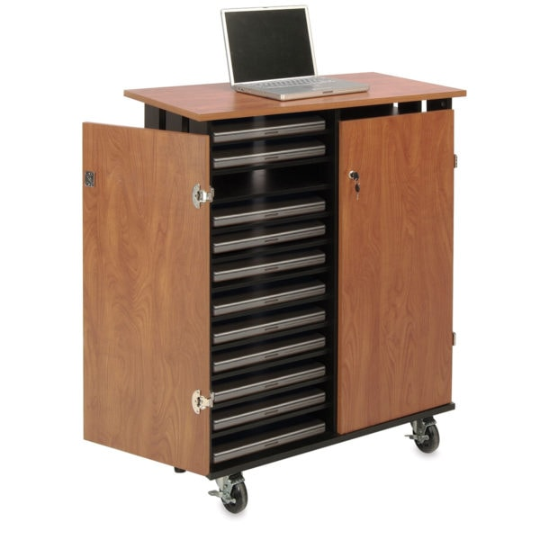 Storage Carts with laptop on top.