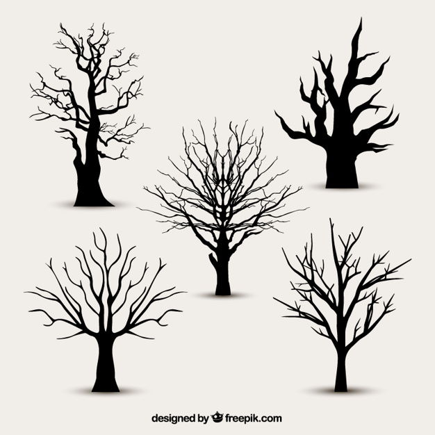 Tree silhouettes without leaves Free Vector