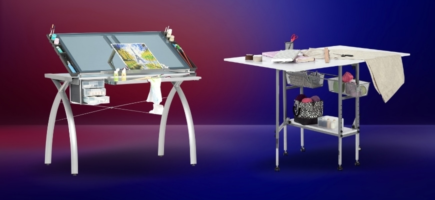 Two Craft Tables in red and blue background