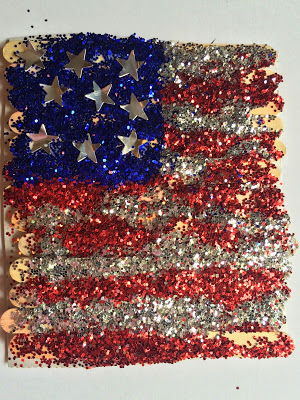 July 4th Glitter American Flag Kids' Art