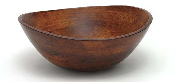 "Lipper International Cherry Finished Wavy Rim Serving Bowl for Fruits or Salads, Matte, Large, 13"" x 12.5"" x 5"", Single Bowl"
