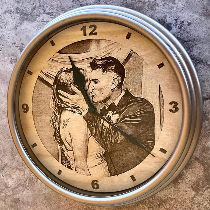 12 Inch Engraved Wooden Photo Clock Gift Anniversary Couple Wedding Photo Portrait Cute Unique Laser Etched Engraved Engraving Present Wall