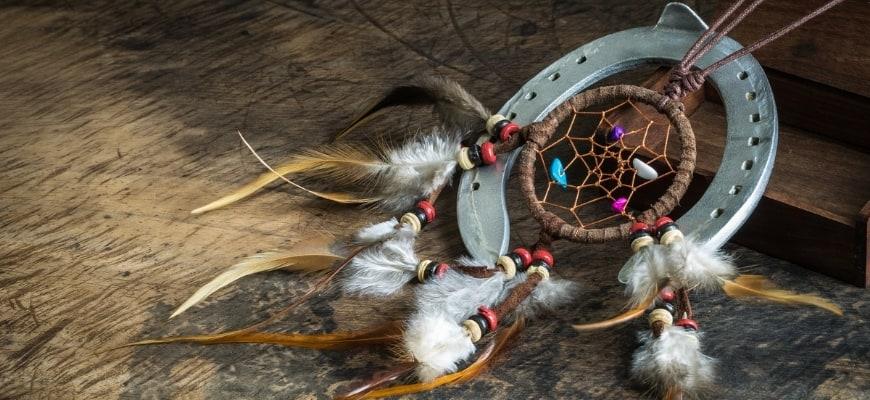 Beautiful Horseshoe Craft in brown background