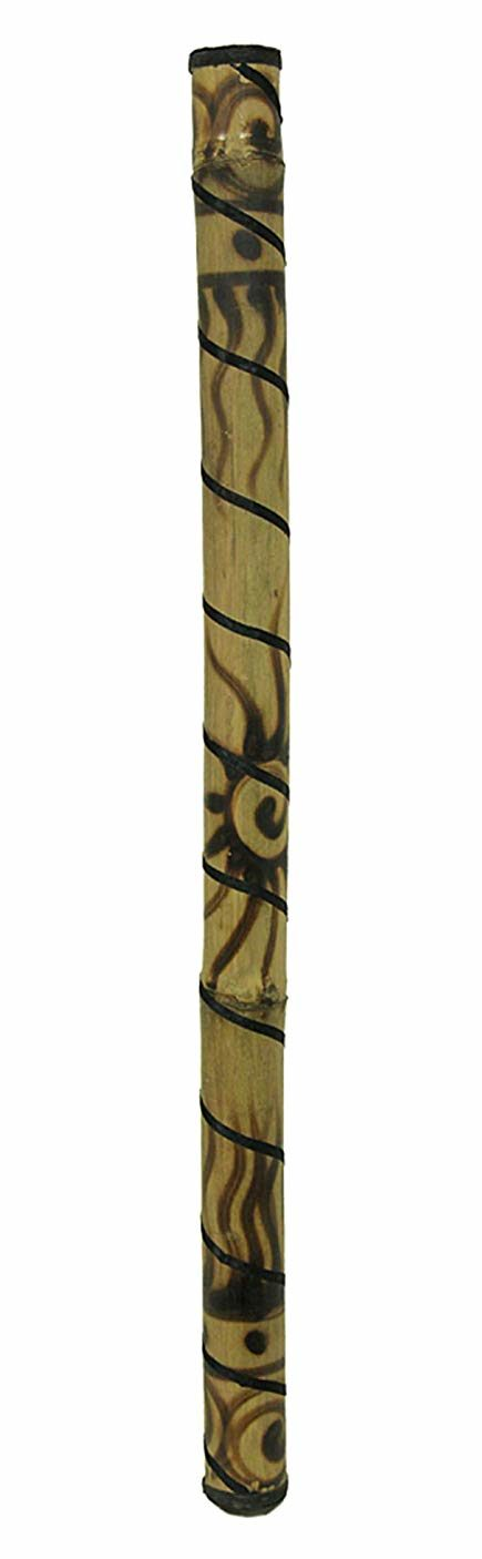 36 Inch Bamboo Rain Stick Percussion Instrument Wood Burned Sun Design isolated in white background