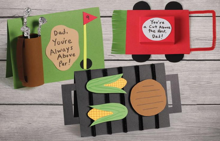 Golf Card, Lawn Mower card, Barbecue card in wooden background