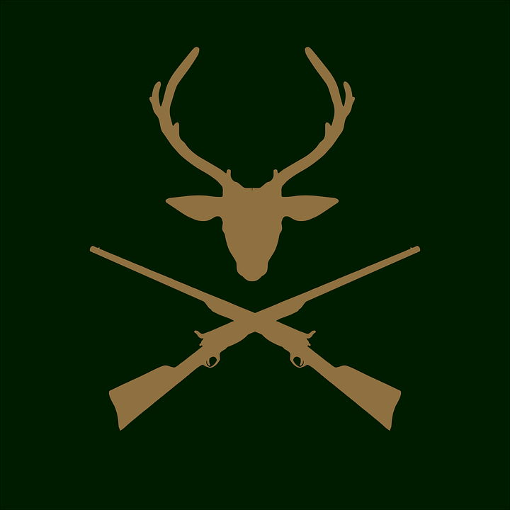 Deer Hunter Logo Emblem in green background