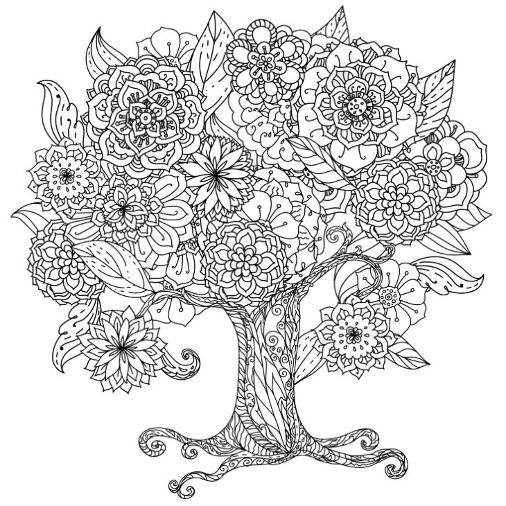 Circle shape orient floral black and white tree could be use for coloring book in zentangle style.