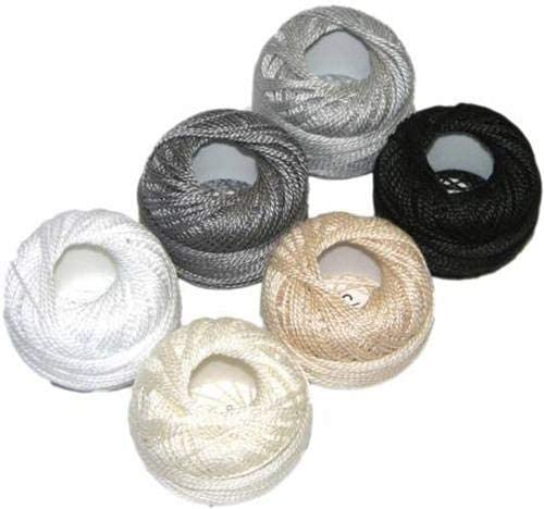 Presencia Pearl Cotton Thread Sampler - Sashiko, Embroidery & Quilting - Neutral Sampler - Size 8 - 6 Colors - 77 yard balls