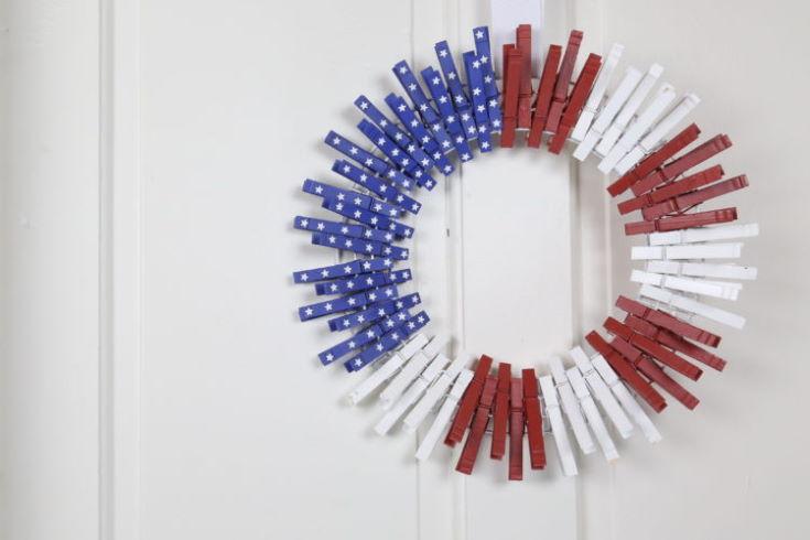 A Patriotic Clothespin Flag Wreath